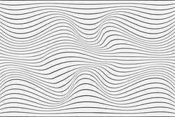 3D Vector distorted grid design. Abstract wireframe landscape. Detailed lines on white background. Optical Illusion.