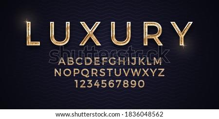 3D Vector Elegant Luxury Golden Font Isolated On Abstract Background. Premium Royal Vip Gold Alphabet Design Elements. Expensive Golden Metalic Typescript On Deep Blue Backdrop