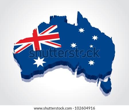 3D vector flag map of Australia