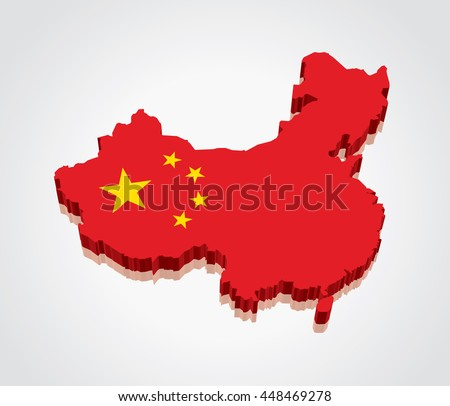 3D vector Flag Map of China
