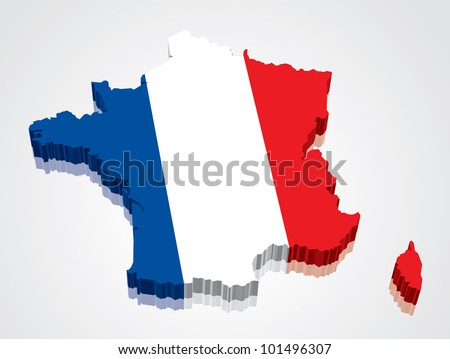3D vector flag map of France