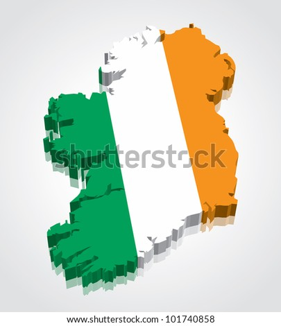 3D vector flag map of Ireland