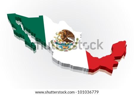 3D vector flag map of Mexico