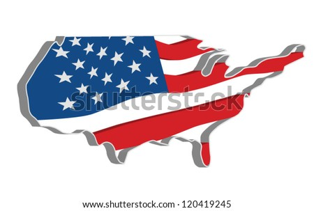 3D vector flag map of the United States of America.