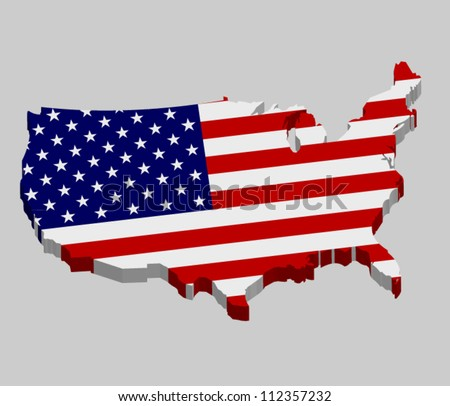 3D vector flag map of the USA - United States of America