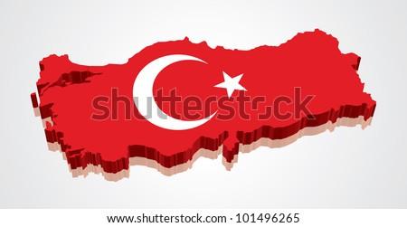3D vector flag map of Turkey
