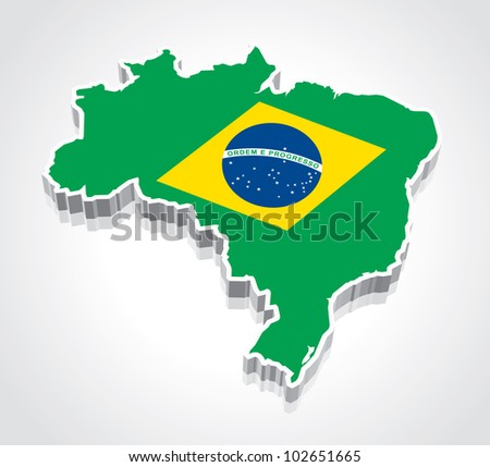 3D vector flag maps of Brazil