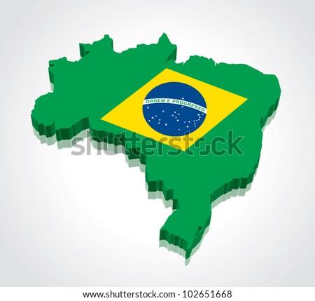 3D vector flag maps of Brazil