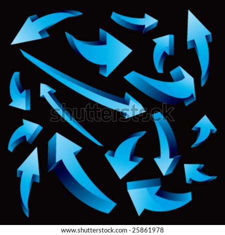 3-D vector glossy arrows - stock vector