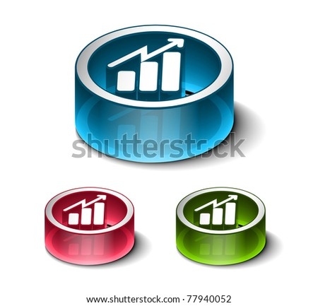 3d vector glossy business graph web icon design element.