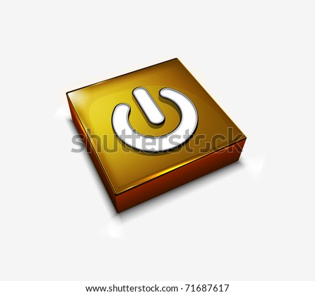 3d vector glossy power web icon design element.