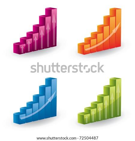 3d vector graph set - icons - stock vector