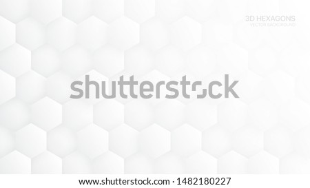 3D Vector Hexagon Pattern White Abstract Technological Background. Tech Scientific Concept Hexagonal Blocks Structure Light Wide Wallpaper. Clear Blank Subtle Textured Banner Backdrop