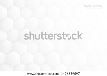 3D Vector Hexagonal Blocks Structure White Abstract Background. Three Dimensional Science Technologic Hexagons Light Conceptual Art Illustration. Clear Blank Subtle Textured Backdrop