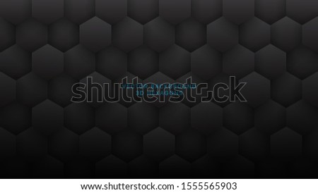 3D Vector Hexagons Grid Pattern Technological Dark Gray Abstract Background. Sci-fi Hexagonal Blocks Structure Conceptual Minimalist Art Illustration. Black Clear Blank Subtle Textured Wallpaper