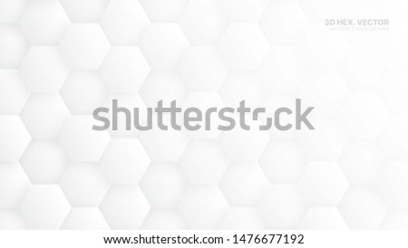 3D Vector Hexagons Pattern Technology White Abstract Background. Concept Scientific Tech Hexagonal Blocks Structure Light Grey Wallpaper. Clear Blank Subtle Textured Banner Backdrop