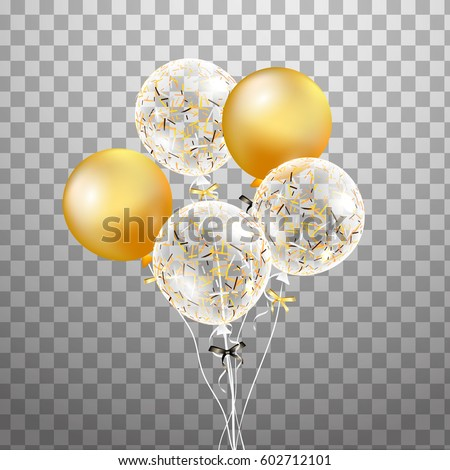 3d Vector holiday illustration bunch of Birthday Balloons isolated in the air. Wedding concept. Trendy balloon. Festive Balloon real. For party, birthday invitation, anniversary, celebration, design.