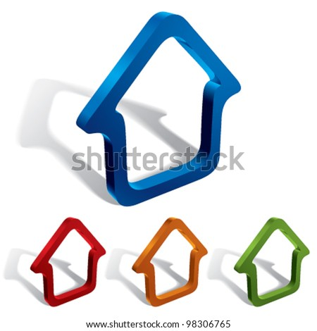 3d vector home icons design, color set.