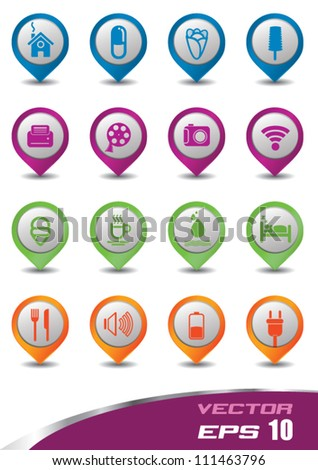 3d vector icons set pastel color