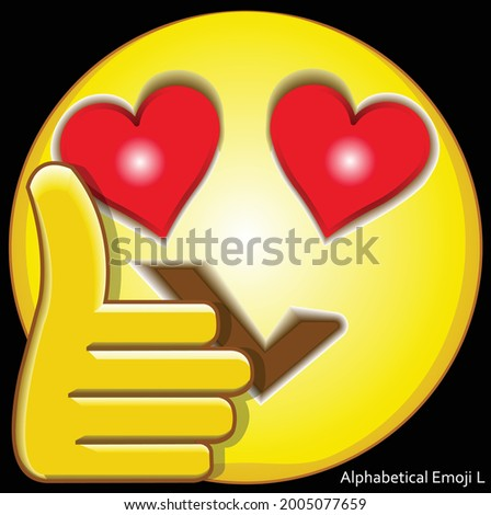 3d vector illustration face of alphabetical cartoon with the shape of mouth like a letter L, the eyes like love symbol, and thumb up hand. Alphabetical emoji L. Stock fotó ©