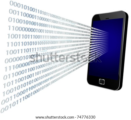 3D vector illustration of binary code coming through modern touch screen mobile phone