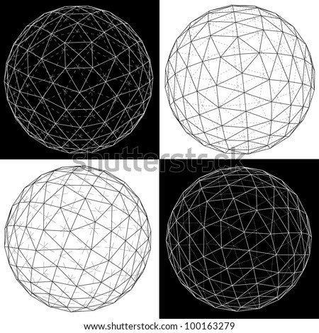 3D vector illustration of four spheres.