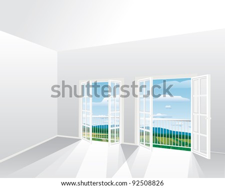 3d vector illustration of the empty room with landscape, eps-10 file - stock vector