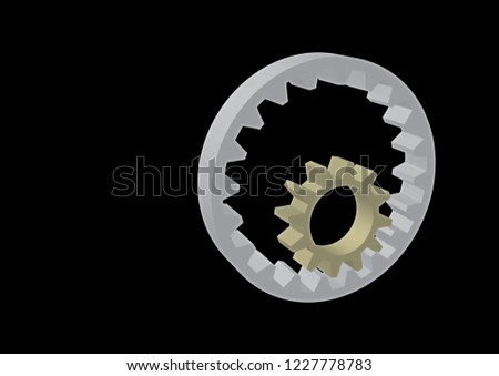 3d vector illustration of two gears in different colors isolated on black background. A gear moving inside another gear. Industrial and engineering solution concept. Transmission gear. CAD icon.