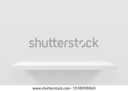3d vector illustration of white empty shelf on wall. Minimal mockup design for product presentation. Сток-фото ©
