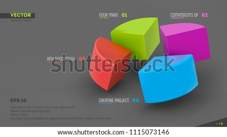 3d vector infographic banner with four color sectors and place for your text. Eps10. Stock photo ©