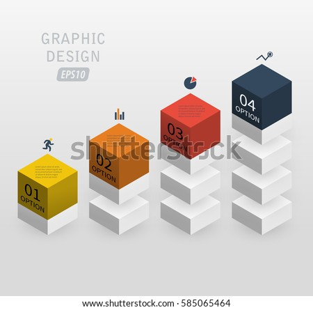 3d vector infographics column data