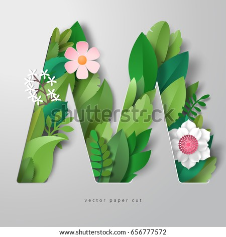 3d vector letter m with leaves