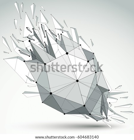 3d vector low poly object with black connected lines and dots, geometric wireframe shape with refractions. Asymmetric perspective shattered grayscale form with thread. #604683140