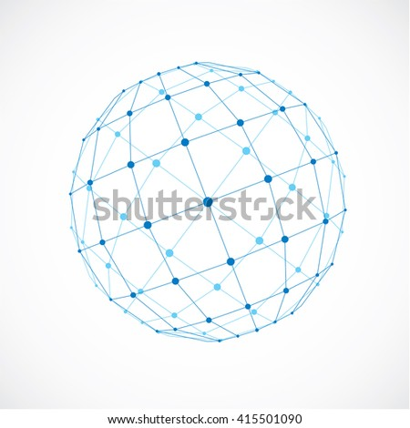 3d vector low poly spherical object with black connected lines and dots, geometric blue wireframe shape. Perspective facet orb created with squares.