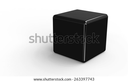 3D vector model of a black Cube. isolated on white. The cube has a shadow.
