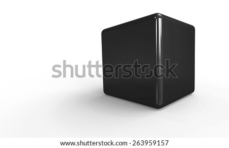 3D vector model of a cyan blue Cube. isolated on white. The cube has a shadow.