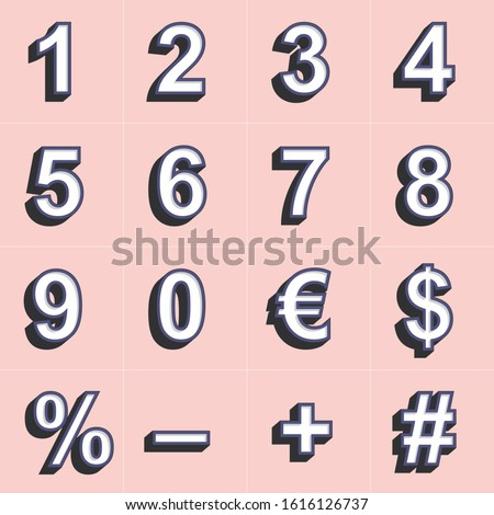 3D vector numbers. Retro vector numbers. Numbers background. Promotion numbers. Calendar. Counting.