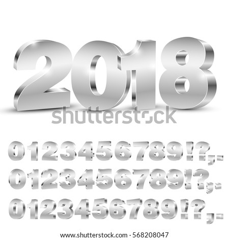 3D vector numbers, three set of different angles, metallic chrome digit and 2018 years title on white background