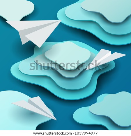 3d vector paper cut clouds with airplanes. Cartoon art illustration in minimalistic craft carving style. Modern layout colorful concept in isometric view for games.