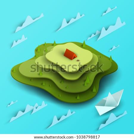 3d vector paper cut green