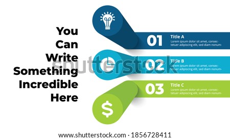 3D Vector Perspective Infographic. Presentation slide template. 3 step options. Chart concept.  Photo stock ©