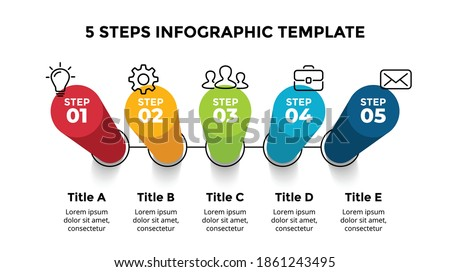 3D Vector Perspective Infographic. Presentation slide template. 5 step options. Chart concept. Colorful creative info graphic design. Stockfoto ©