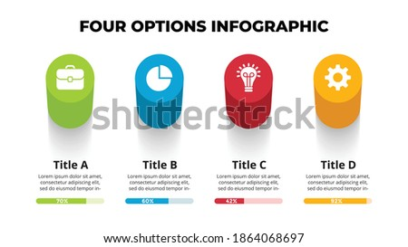 3D Vector Perspective Infographic. Presentation slide template. 4 step options. Chart concept. View from above. Stockfoto ©