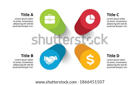3D Vector Perspective Infographic. Presentation slide template. 4 step options. Circle diagram concept. Colorful creative info graphic design. Photo stock ©