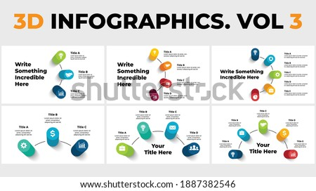 3D Vector Perspective Infographics Pack. Presentation slide templates with big title. Circle columns with shadows. Photo stock ©