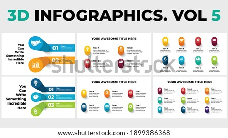 3D Vector Perspective Infographics Pack Vol 5. Presentation slide template. Circle columns with shadows. Photo stock ©