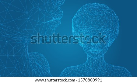 3d vector portrait of a beautiful young girl with hairstyle, set of angles on a blue background