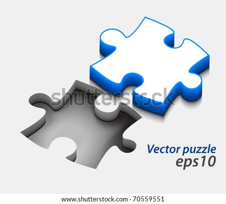 3d vector puzzle design with isolated on white.