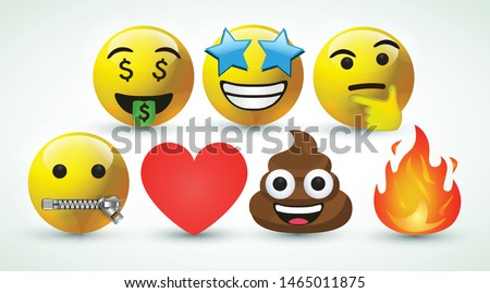 3d vector round yellow cartoon bubble emoticons social media Facebook Instagram Whatsapp chat comment reactions, icon template face money, zip, thinking fire star love heart emoji character message