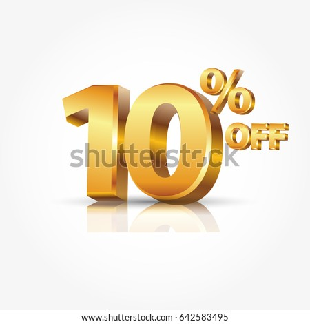 3d vector shiny gold text 10 percent off isolated on white background with reflection
